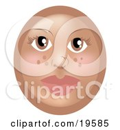 Clipart Illustration Of A Pretty Female Freckle Emoticon Face With Green Eyes