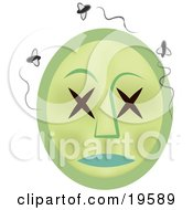 Clipart Illustration Of A Rotting Dead Emoticon Face Surrounded By Swarming Flies by AtStockIllustration