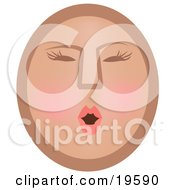 Clipart Illustration Of A Modest Female Emoticon Face Blushing by AtStockIllustration