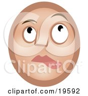 Clipart Illustration Of A Nervous Lip Biting Emoticon Face Nibbling Its Lower Lip And Looking Upwards