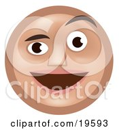 Clipart Illustration Of A Pleasantly Surprised Tan Smiley Face Man Smiling And Raising One Eyebrow