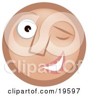 Clipart Illustration Of A Flirty Winking Tan Smiley Face