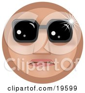 Clipart Illustration Of A Famous Tan Smiley Face Wearing Dark Shades Over Its Eyes by AtStockIllustration
