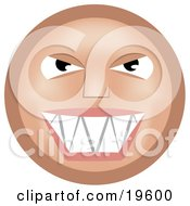 Clipart Illustration Of A Mischievous Tan Smiley Face Grinning While Thinking Evil Thoughts