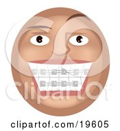 Clipart Illustration Of A Metal Mouth Tan Smiley Face Showing Its Braces On Its Teeth