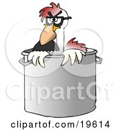 Clipart Illustration Of A Disguised Chicken Wearing A Hairy Nose And Glasses Peeking Out Of A Stock Pot In A Kitchen