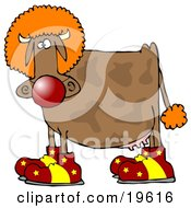 Clipart Illustration Of A Goofy Brown Cow Dressed As A Clown Wearing Big Red And Yellow Shoes A Red Nose And An Orange Wig