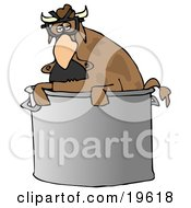 Clipart Illustration Of A Disguised Brown Cow Wearing A Hairy Nose And Glasses Peeking Out Of A Stock Pot In A Kitchen by Dennis Cox