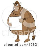 Clipart Illustration Of A Fat Brown Cow Standing On Its Hind Legs And Holding A Blank White Sign by Dennis Cox