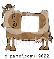 Big Brown Cow Standing In Profile Wearing A Blank White Sign Over Its Back