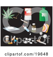 Clipart Illustration Of Drug Picture Icons On A Black Background