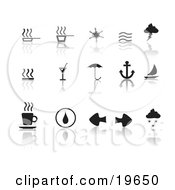 Clipart Illustration Of A Collection Of Black Misc Icons On A Reflective White Background