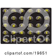Collection Of Yellow Finance Icons On A Black Background
