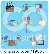 Clipart Illustration Of A Collection Of Filming Picture Icons On A Blue Background by Rasmussen Images