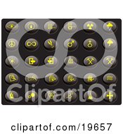 Clipart Illustration Of A Collection Of Yellow Misc Icons On A Black Background by Rasmussen Images