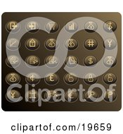 Clipart Illustration Of A Collection Of Tan Money Button Icons On A Gold Background