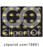 Clipart Illustration Of A Collection Of Yellow Media Icons On A Black Background