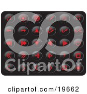 Clipart Illustration Of A Collection Of Red Media Button Icons On A Black Background