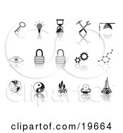 Clipart Illustration Of A Collection Of Black Random Icons On A Reflective White Background