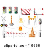 Clipart Illustration Of A Collection Of Road Signs On A White Background