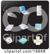 Clipart Illustration Of Computer Picture Icons On A Black Background by Rasmussen Images