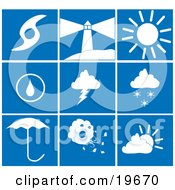 Clipart Illustration Of A Collection Of White Weather Picture Icons On A Blue Background