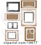 Collection Of Wooden Picture Frames On A White Background