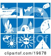 Clipart Illustration Of A Collection Of White Travel Picture Icons On A Blue Background by Rasmussen Images