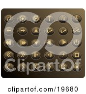 Clipart Illustration Of A Collection Of Tan Media Utton Icons On A Gold Background