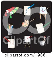 Clipart Illustration Of Art Picture Icons On A Black Background