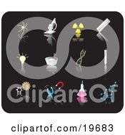 Clipart Illustration Of Science Picture Icons On A Black Background by Rasmussen Images