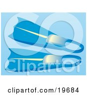 Clipart Illustration Of A Pair Of Blue Snorkel Flippers Over A Blue Background by Rasmussen Images