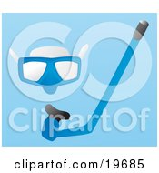 Clipart Illustration Of A Blue Snorkel Mask And Snorkel Tube On A Blue Background by Rasmussen Images