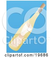 Clipart Illustration Of A Love Letter Message In A Yellow Glass Bottle On A Blue Background by Rasmussen Images