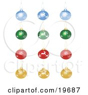 Clipart Illustration Of A Collection Of Blue Green Red And Yellow Christmas Tree Ornaments On A White Background