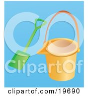 Clipart Illustration Of An Orange Beach Bucket And Shovel For Building A Sand Castle On A Blue Background
