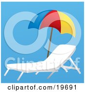 Clipart Illustration Of An Empty Lounge Chair Under A Colorful Beach Umbrella On A Blue Background