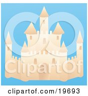 Clipart Illustration Of An Elegant Sand Castle On A Beach On A Blue Background by Rasmussen Images