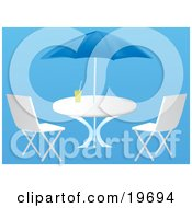 Clipart Illustration Of A Beverage Resting On A Beach Table With Chairs Under An Umbrella On A Blue Background
