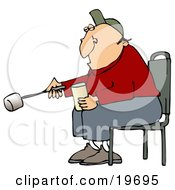 Clipart Illustration Of A White Guy Sitting In A Chair And Roasting A Marshmallow Over A Fire While Camping by djart