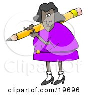 Clipart Illustration Of A Black Lady In A Purple Dress Carrying A Giant Yellow Pencil Over Her Shoulder by Dennis Cox