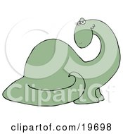 Clipart Illustration Of A Flirty Green Female Dinosaur Fluttering Her Eyelashes