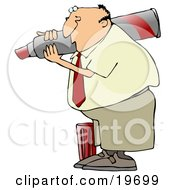 Clipart Illustration Of A White Businessman Carrying A Giant Red Marker On His Shoulder The Cap At His Feet by Dennis Cox