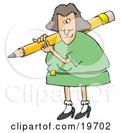 Clipart Illustration Of A White Female Teacher In A Green Dress Carrying A Giant Yellow Pencil On Her Shoulder Grading Student Papers by Dennis Cox