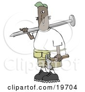 Black Construction Worker Man With A Giant Nail On His Shoulder Carrying A Hammer In His Hand