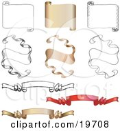 Clipart Illustration Of A Collection Of Blank Horizontal Scrolls And Elegant Banners