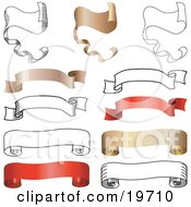 Clipart Illustration Of A Collection Of Blank White Gold And Red Parchments Scrolls And Banners