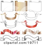 Clipart Illustration Of A Collection Of Horizontal Gold And White Parchments And Gold Red And White Banners