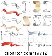 Clipart Illustration Of A Collection Of Banners Scrolls Parchment And Flags