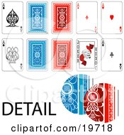 Clipart Illustration Of Front And Back Sides Of Ace Playing Cards With A Closeup On The Details